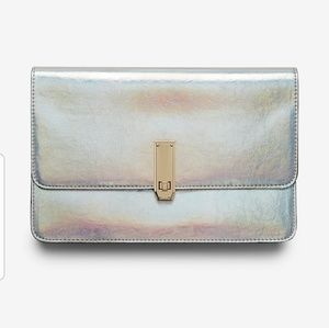 EXPRESS Holographic Turnlock Clutch NWT!